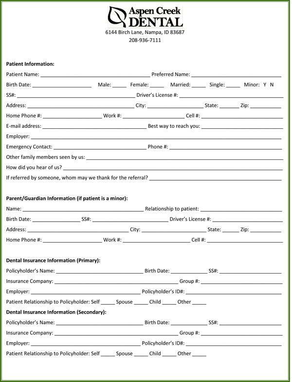 dental patient registration form template